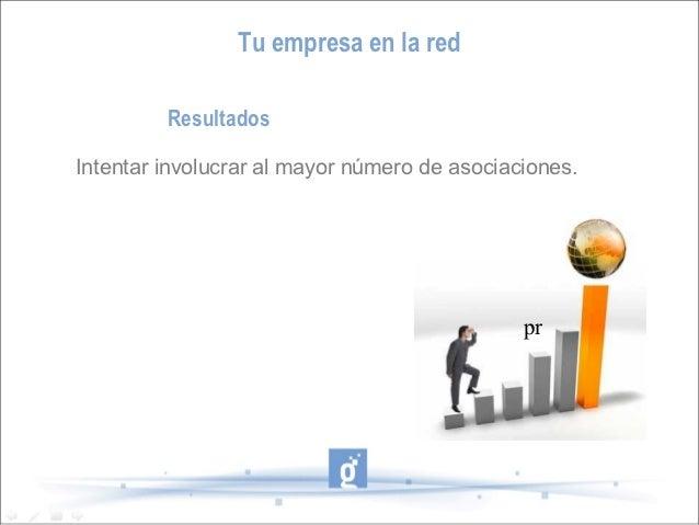 Tu empresa en la red         ResultadosIntentar involucrar al mayor número de asociaciones.                               ...