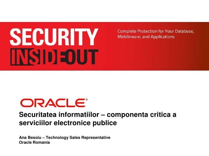 Soluţii de securitate de la Oracle - Eveniment Agenda Digitala, Timisoara, 3 oct. 2011