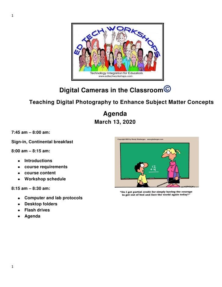 1                            Digital Cameras in the Classroom         Teaching Digital Photography to Enhance Subject Matt...