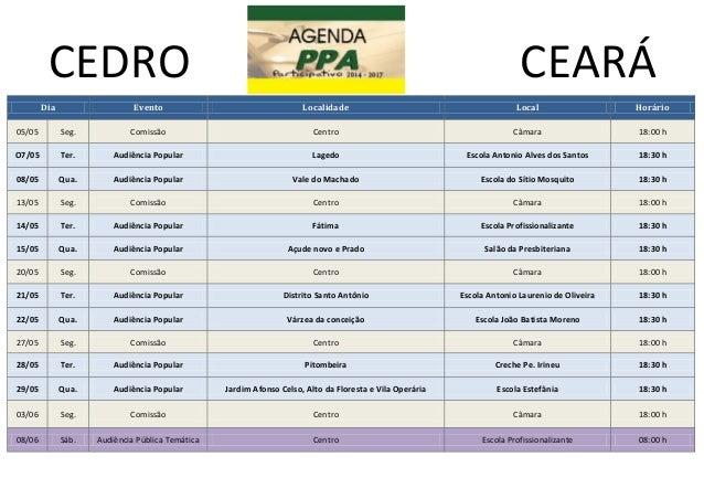 CEDRO CEARÁDia Evento Localidade Local Horário05/05 Seg. Comissão Centro Câmara 18:00 hO7/05 Ter. Audiência Popular Lagedo...