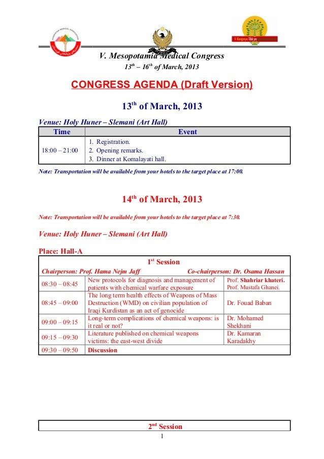 V. Mesopotamia Medical Congress                                   13th – 16th of March, 2013             CONGRESS AGENDA (...