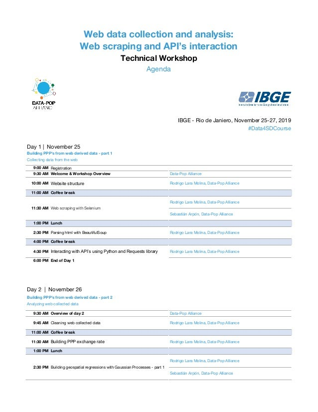 Web data collection and analysis: Web scraping and API's interaction Technical Workshop Agenda IBGE - Rio de Janiero, Nove...