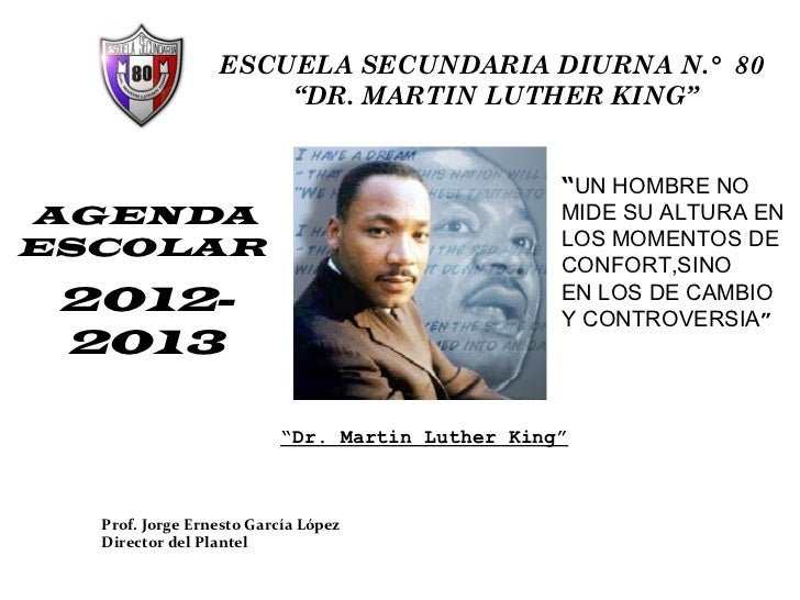 "ESCUELA SECUNDARIA DIURNA N.° 80                     ""DR. MARTIN LUTHER KING""                                             ..."