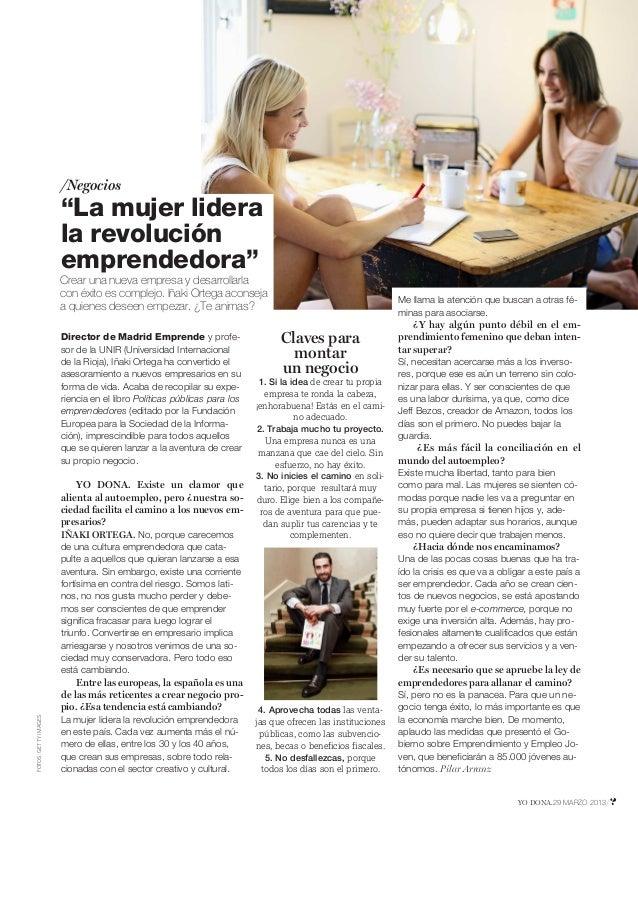 """/Negocios                      """"La mujer lidera                      la revolución                      emprendedora""""     ..."""