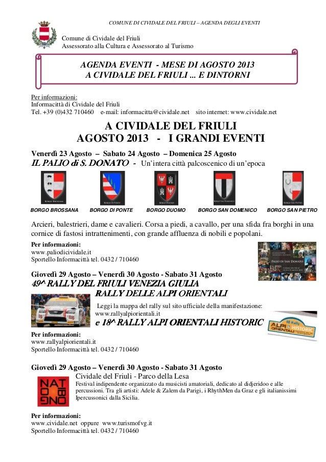 COMUNE DI CIVIDALE DEL FRIULI – AGENDA DEGLI EVENTI BORGO SAN PIETRO Comune di Cividale del Friuli Assessorato alla Cultur...