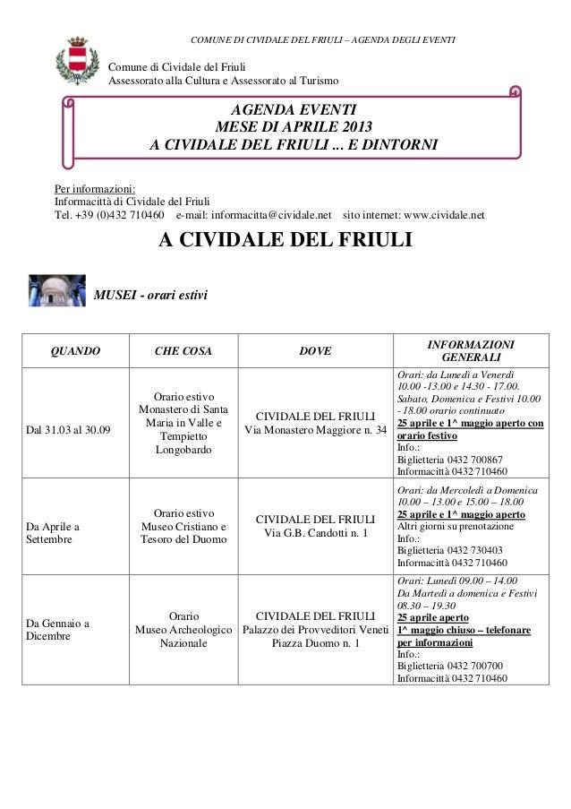 COMUNE DI CIVIDALE DEL FRIULI – AGENDA DEGLI EVENTI                 Comune di Cividale del Friuli                 Assessor...