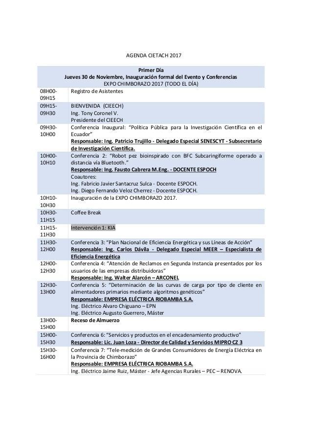 AGENDA CIETACH 2017 Primer Día Jueves 30 de Noviembre, Inauguración formal del Evento y Conferencias EXPO CHIMBORAZO 2017 ...