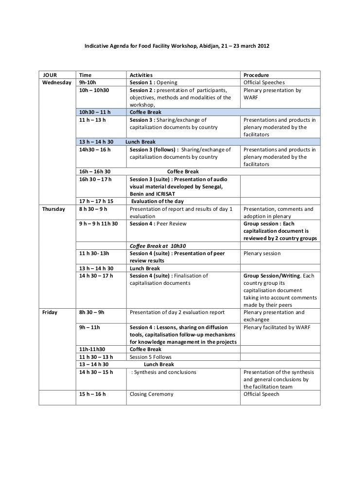 Indicative Agenda for Food Facility Workshop, Abidjan, 21 – 23 march 2012JOUR        Time                Activities       ...