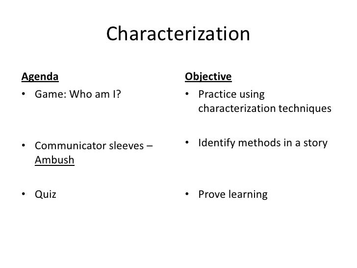 Characterization<br />Agenda<br />Game: Who am I?<br />Communicator sleeves – Ambush<br />Quiz<br />Objective<br />Practic...