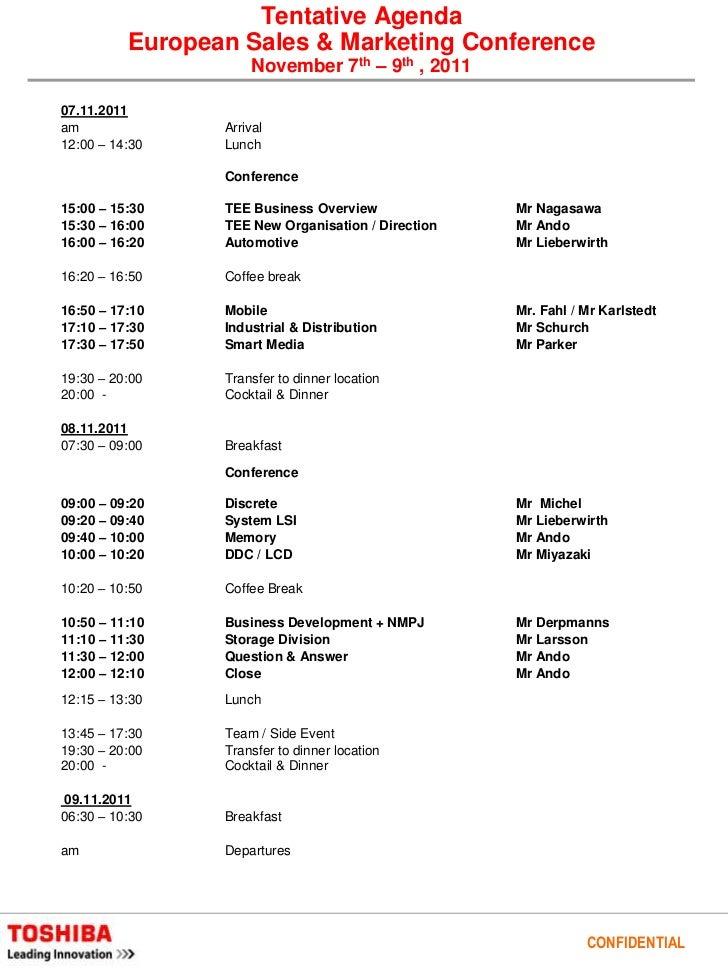 Tentative Agenda European Sales U0026 Marketing Conference November 7th ...