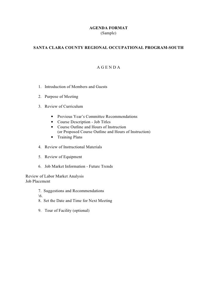 High Quality AGENDA FORMAT (Sample) SANTA CLARA COUNTY ... For Format For An Agenda
