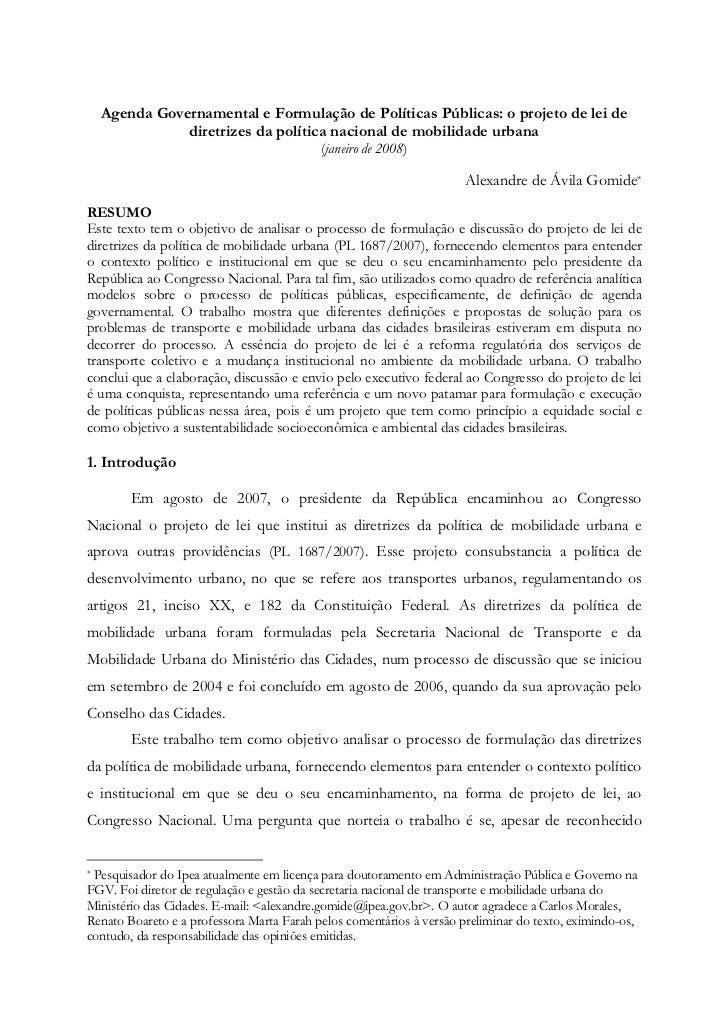 Agenda Governamental e Formulação de Políticas Públicas: o projeto de lei de             diretrizes da política nacional d...