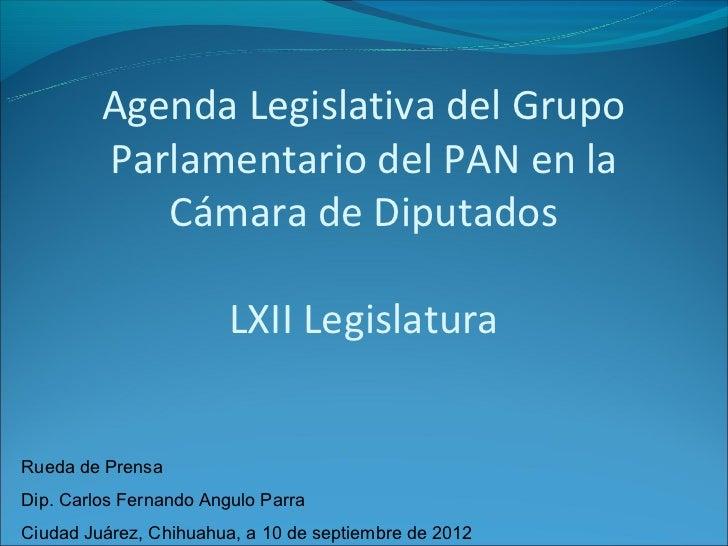 Agenda Legislativa del Grupo         Parlamentario del PAN en la            Cámara de Diputados                        LXI...
