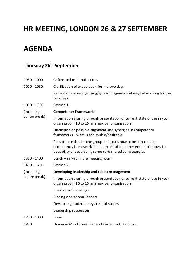agenda for meeting