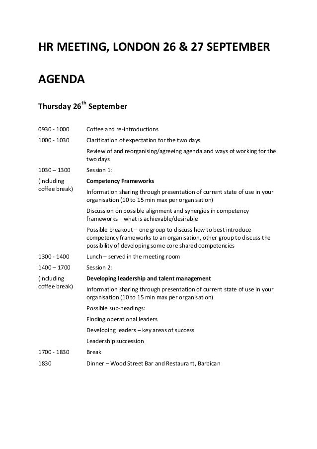 Agenda Hr Meeting London September