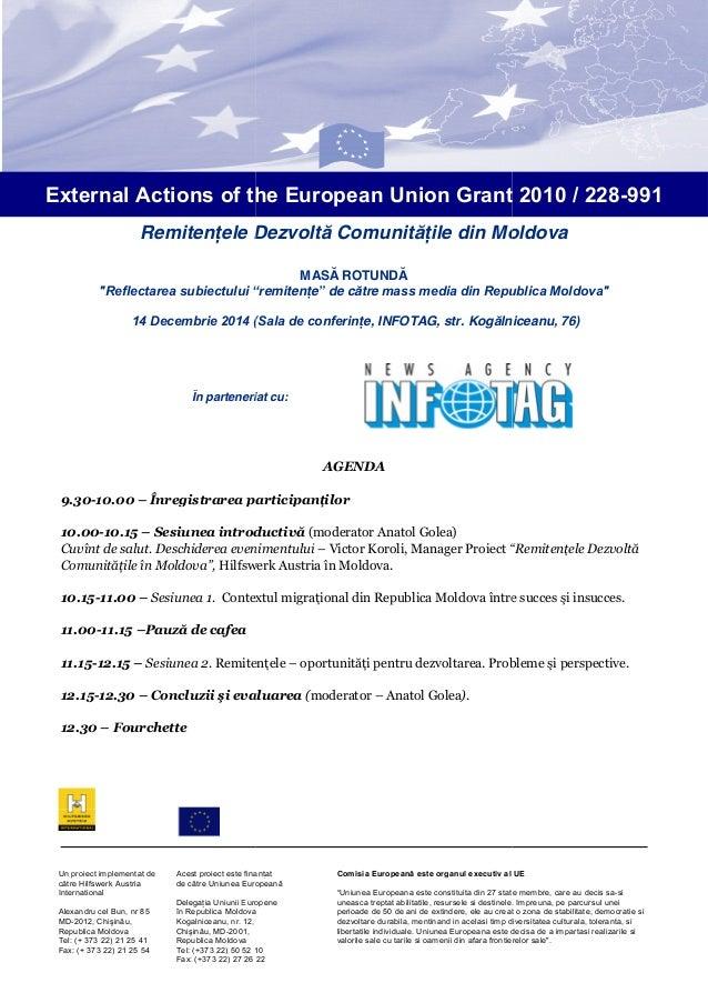 """External Actions of the European Union Grant 2010 / 228-991 Remitenţele Dezvoltă Comunităţile din Moldova MASĂ ROTUNDĂ """"Re..."""