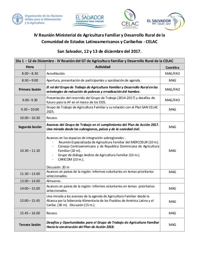 IV Reunión Ministerial de Agricultura Familiar y Desarrollo Rural de la Comunidad de Estados Latinoamericanos y Caribeños ...