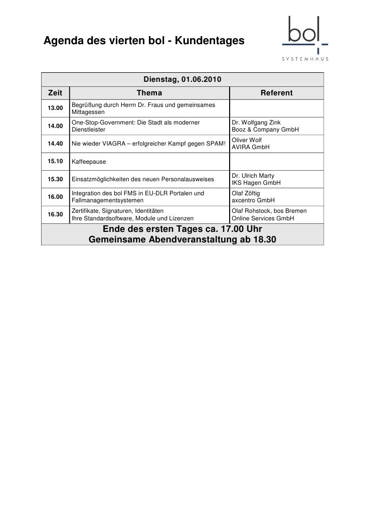 Agenda des vierten bol - Kundentages                                   Dienstag, 01.06.2010 Zeit                          ...