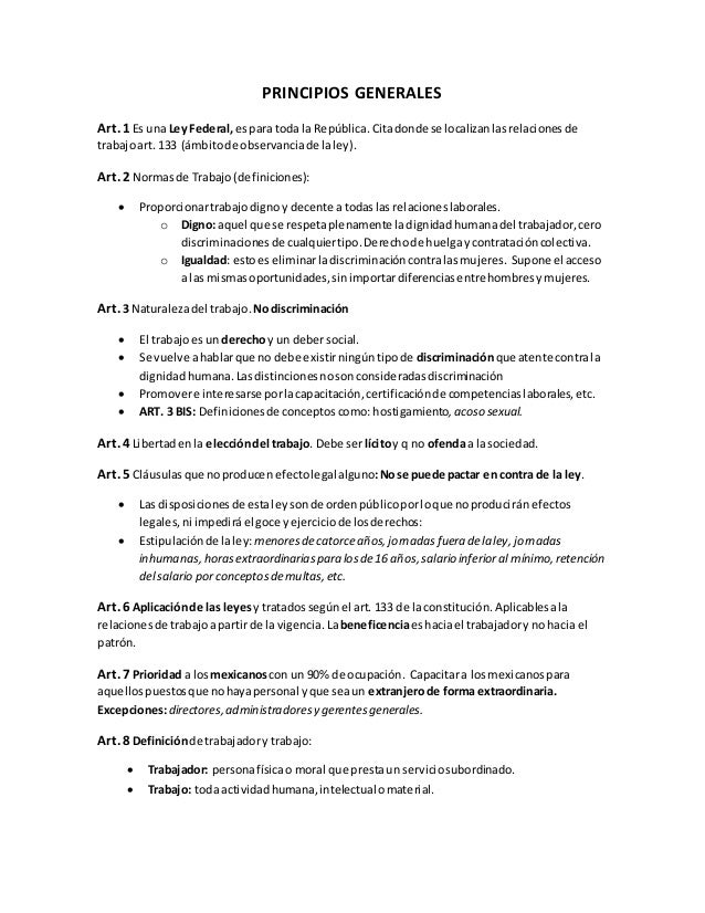 PRINCIPIOS GENERALES Art. 1 Es una Ley Federal,espara toda la República.Citadonde se localizanlasrelacionesde trabajoart. ...