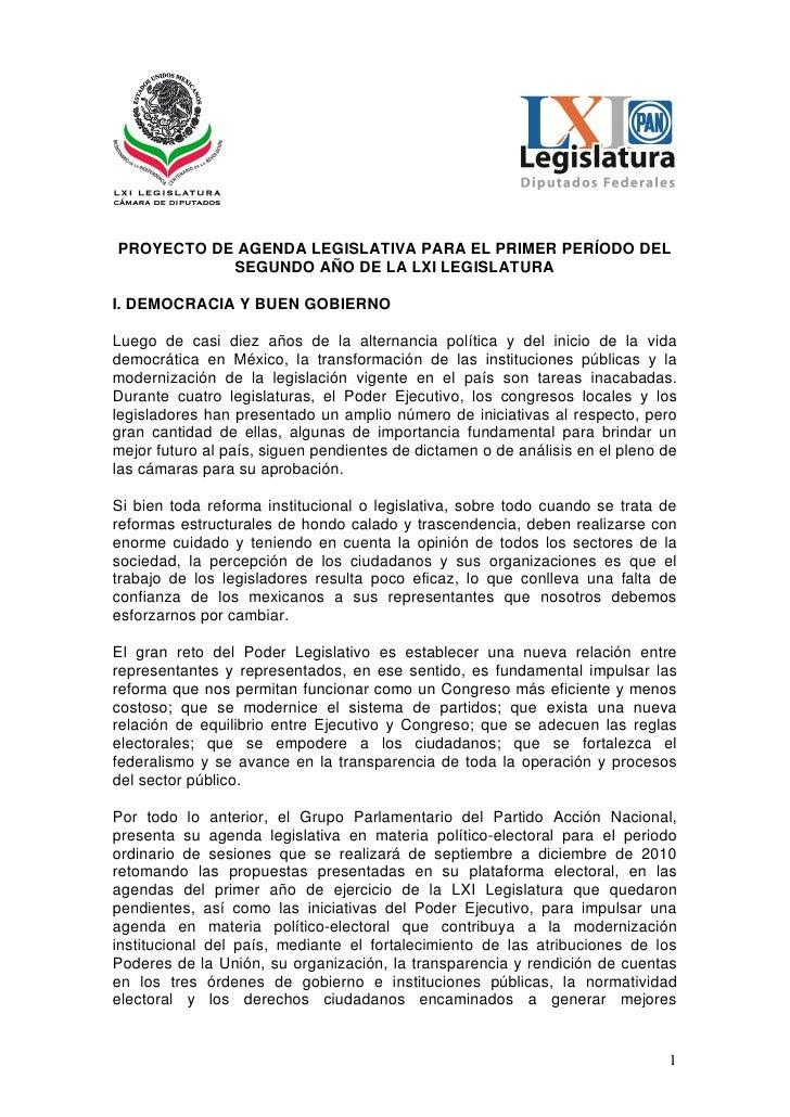 PROYECTO DE AGENDA LEGISLATIVA PARA EL PRIMER PERÍODO DEL            SEGUNDO AÑO DE LA LXI LEGISLATURA  I. DEMOCRACIA Y BU...