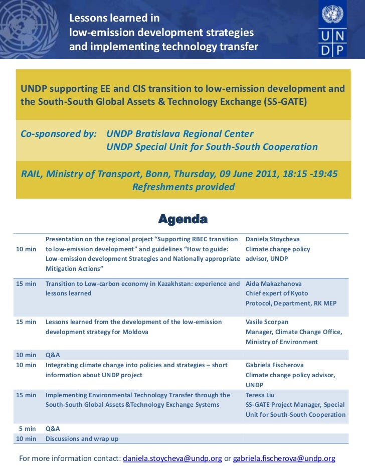 Lessons learned in <br />low-emission development strategies <br />and implementing technology transfer<br />UNDP supporti...
