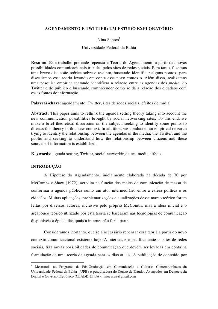 AGENDAMENTO E TWITTER: UM ESTUDO EXPLORATÓRIO                                        Nina Santos1                         ...