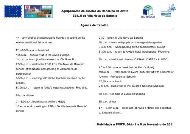 Agrupamento de escolas do Concelho de Alvito EB1/JI de Vila Nova da Baronia Agenda de trabalho ___________________________...