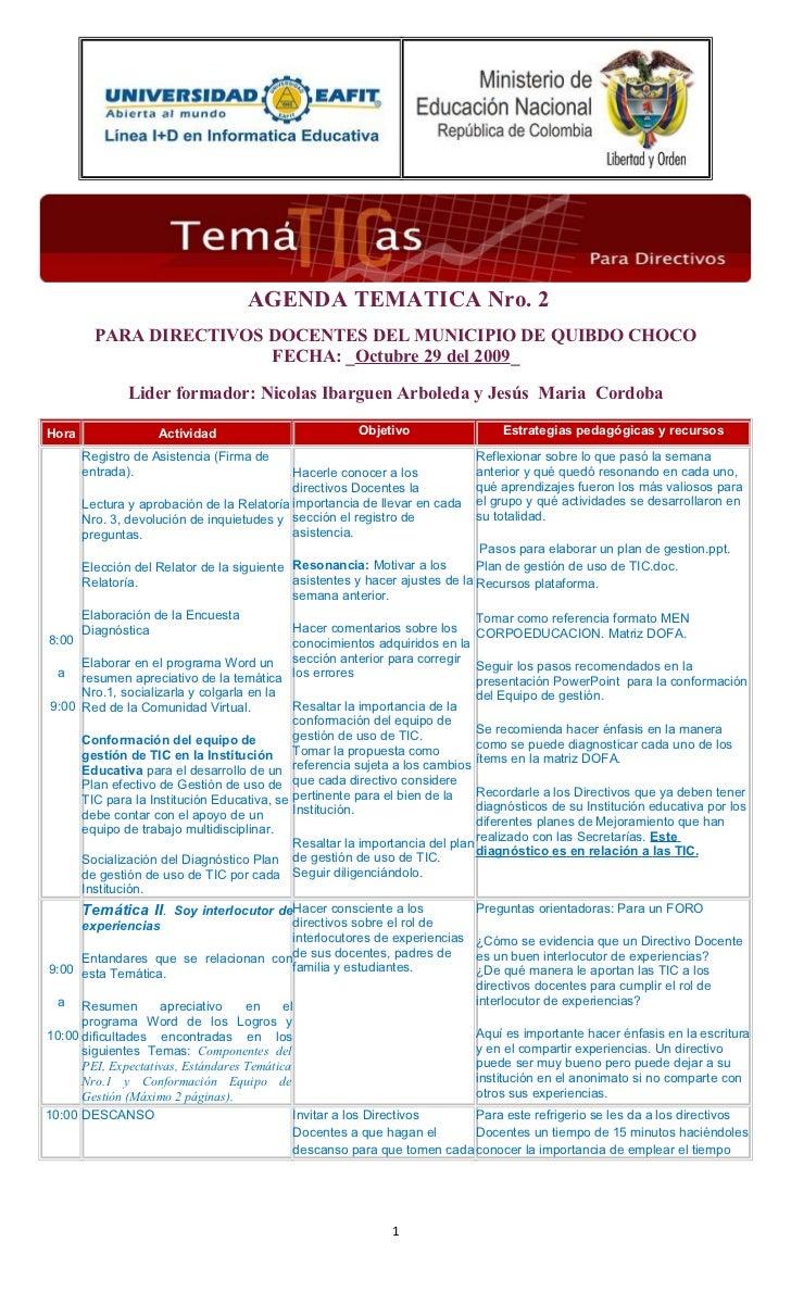 AGENDA TEMATICA Nro. 2         PARA DIRECTIVOS DOCENTES DEL MUNICIPIO DE QUIBDO CHOCO                         FECHA: _Octu...
