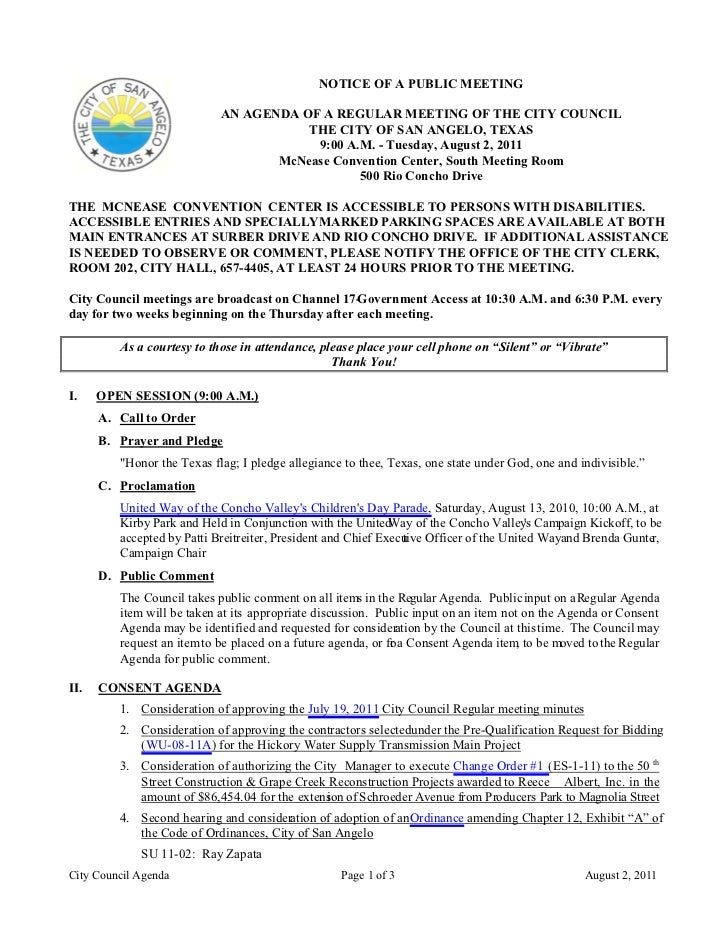 NOTICE OF A PUBLIC MEETING                            AN AGENDA OF A REGULAR MEETING OF THE CITY COUNCIL                  ...