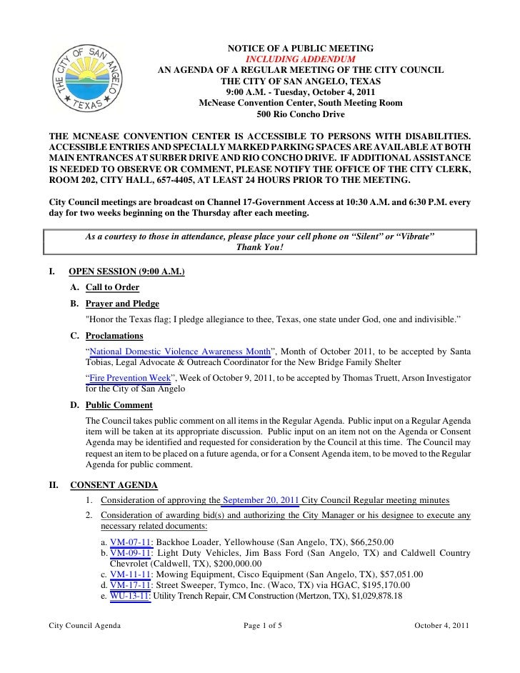 NOTICE OF A PUBLIC MEETING                                             INCLUDING ADDENDUM                            AN AG...