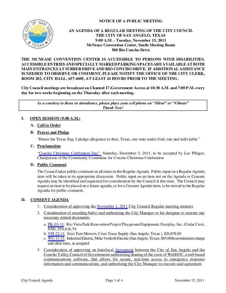 City Council November 15 2011 Agenda Packet