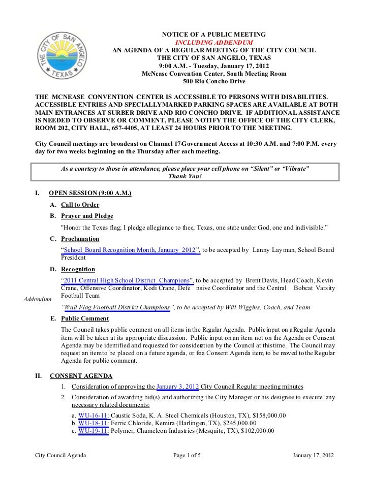 NOTICE OF A PUBLIC MEETING                                               INCLUDING ADDENDUM                               ...