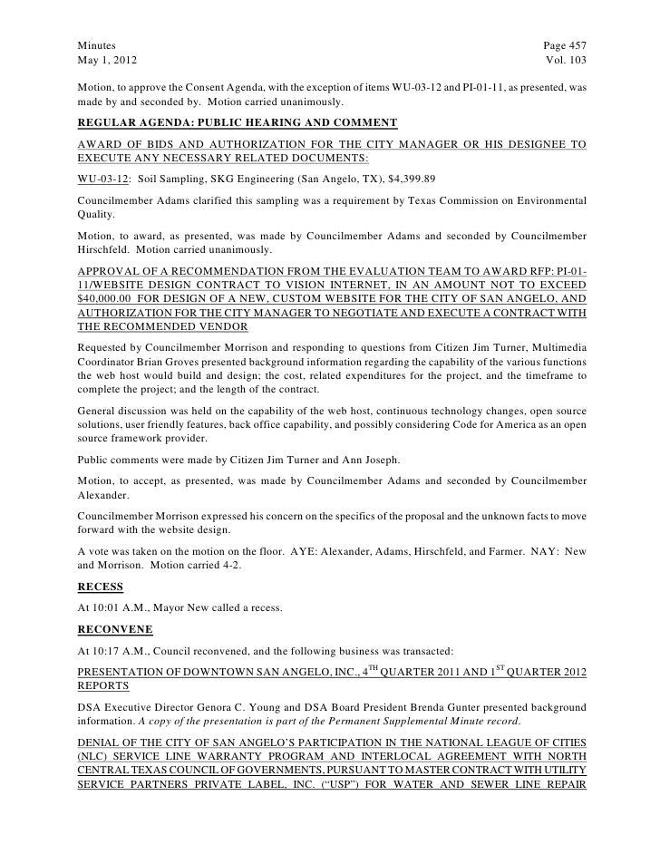 May 15 2012 agenda packet minutes page 457may 1 2012 vol 103motion to approve the consent agenda with the exception of items wu 03 12 and pi 01 11 as presented wasmade by and platinumwayz