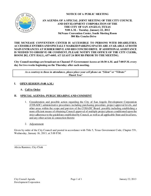 NOTICE OF A PUBLIC MEETING                          AN AGENDA OF A SPECIAL JOINT MEETING OF THE CITY COUNCIL              ...