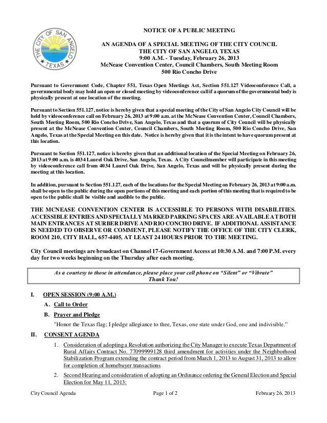 NOTICE OF A PUBLIC MEETING                                AN AGENDA OF A SPECIAL MEETING OF THE CITY COUNCIL              ...