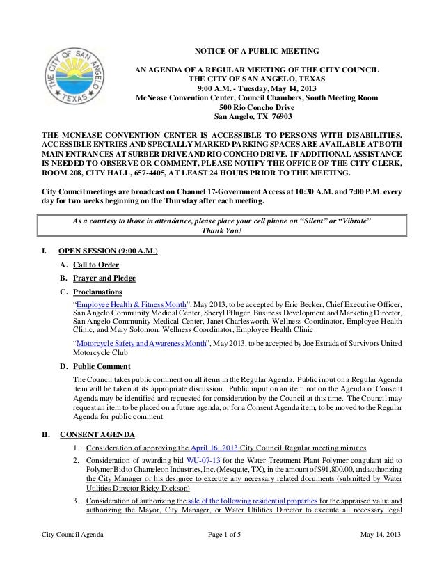 City Council Agenda Page 1 of 5 May 14, 2013NOTICE OF A PUBLIC MEETINGAN AGENDA OF A REGULAR MEETING OF THE CITY COUNCILTH...