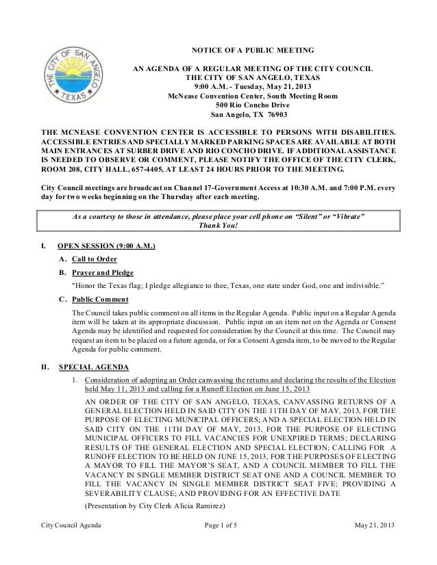 City Council Agenda Page 1 of 5 May 21, 2013NOTICE OF A PUBLIC MEETINGAN AGENDA OF A REGULAR MEETING OF THE CITY COUNCILTH...