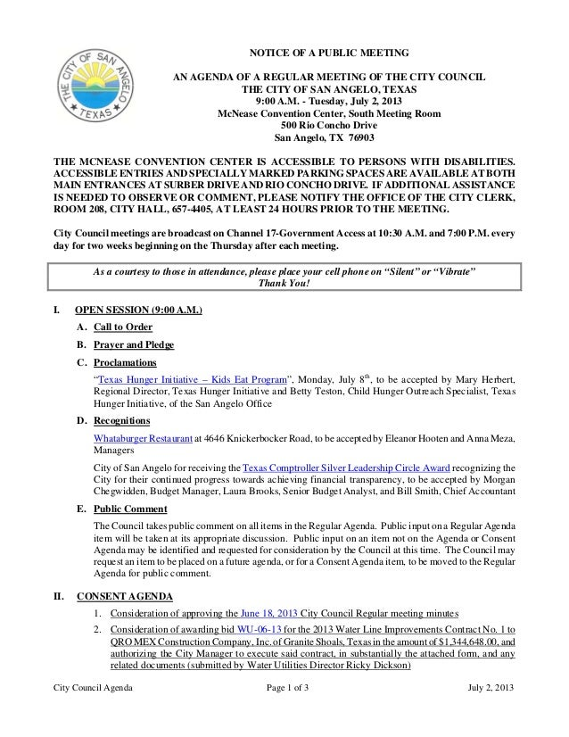 City Council Agenda Page 1 of 3 July 2, 2013 NOTICE OF A PUBLIC MEETING AN AGENDA OF A REGULAR MEETING OF THE CITY COUNCIL...