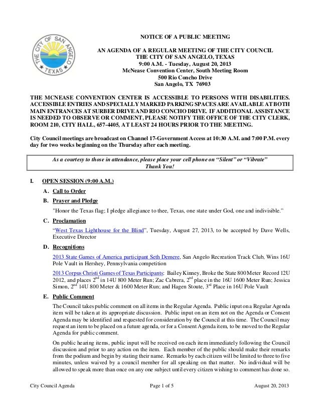 City Council Agenda Page 1 of 5 August 20, 2013 NOTICE OF A PUBLIC MEETING AN AGENDA OF A REGULAR MEETING OF THE CITY COUN...