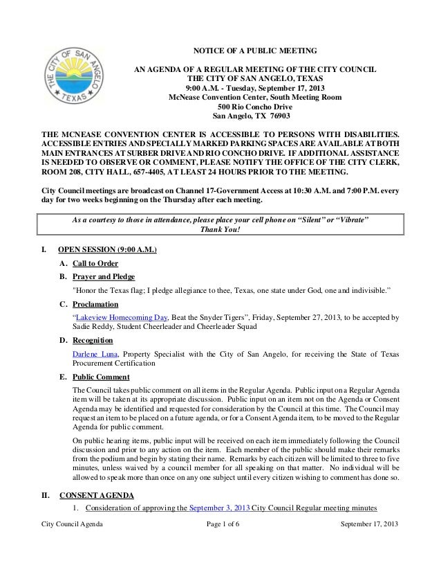 City Council Agenda Page 1 of 6 September 17, 2013 NOTICE OF A PUBLIC MEETING AN AGENDA OF A REGULAR MEETING OF THE CITY C...