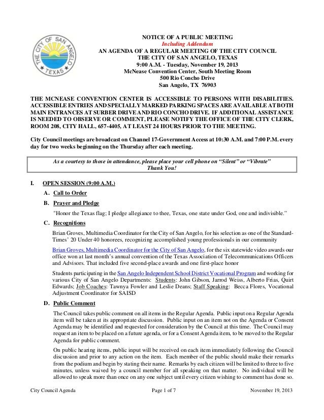 NOTICE OF A PUBLIC MEETING Including Addendum AN AGENDA OF A REGULAR MEETING OF THE CITY COUNCIL THE CITY OF SAN ANGELO, T...