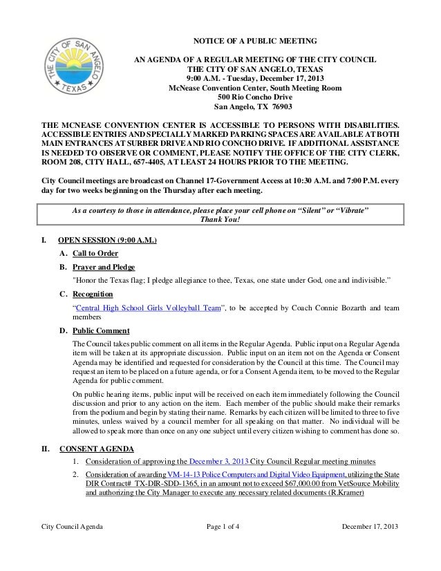 NOTICE OF A PUBLIC MEETING AN AGENDA OF A REGULAR MEETING OF THE CITY COUNCIL THE CITY OF SAN ANGELO, TEXAS 9:00 A.M. - Tu...