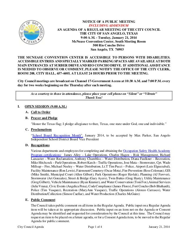 City Council Agenda Page 1 of 4 January 21, 2014 NOTICE OF A PUBLIC MEETING INCLUDING ADDENDUM AN AGENDA OF A REGULAR MEET...