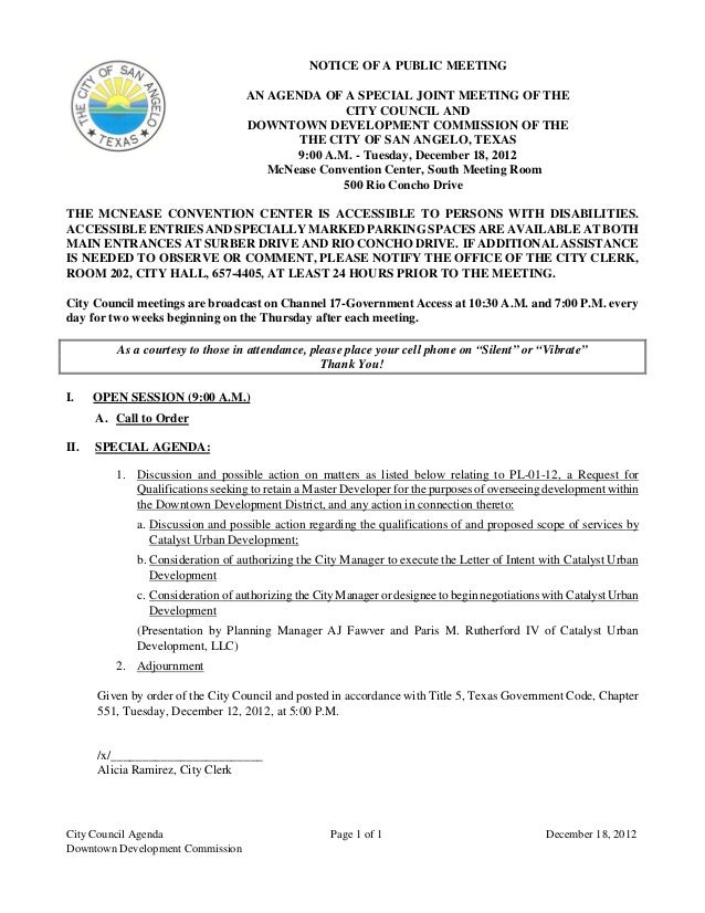 NOTICE OF A PUBLIC MEETING                                   AN AGENDA OF A SPECIAL JOINT MEETING OF THE                  ...