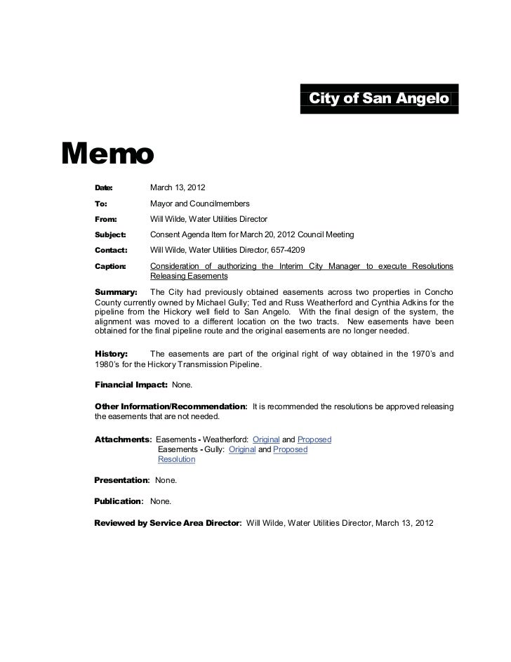 City of San AngeloMemo Date:         March 13, 2012 To:           Mayor and Councilmembers From:         Will Wilde, Water...