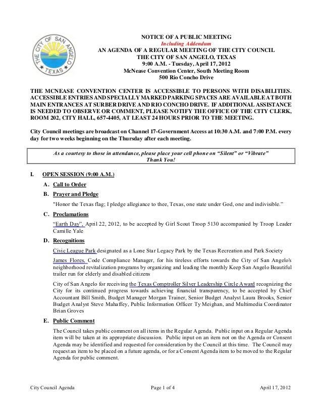 City Council Agenda Page 1 of 4 April 17, 2012 NOTICE OF A PUBLIC MEETING Including Addendum AN AGENDA OF A REGULAR MEETIN...