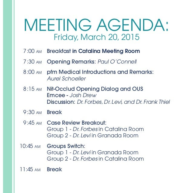 Agenda National Sales Meeting