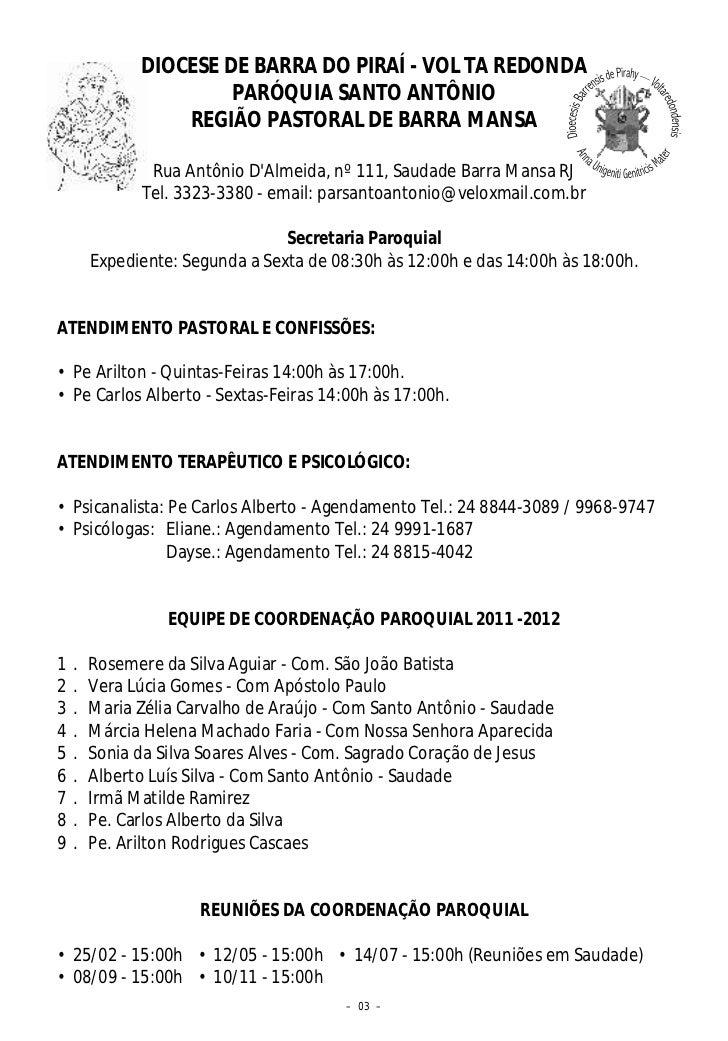 DIOCESE DE BARRA DO PIRAÍ - VOL TA REDONDA                       PARÓQUIA SANTO ANTÔNIO                  REGIÃO PASTORAL D...