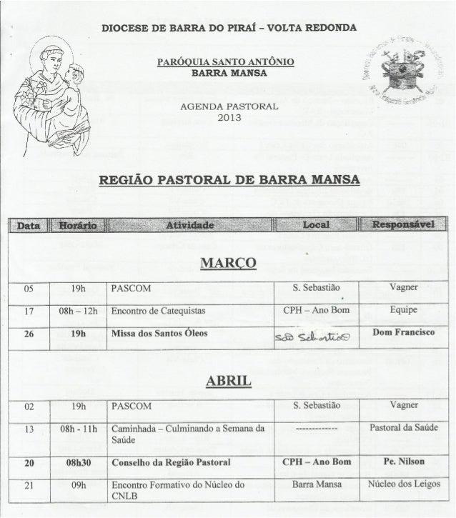 Agenda pastoral de barra mansa. março e abril 2013