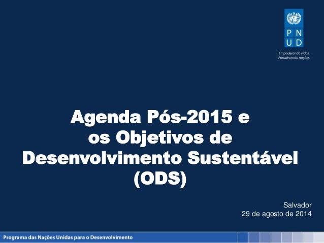 Agenda Pós-2015 e os Objetivos de Desenvolvimento Sustentável (ODS) Salvador 29 de agosto de 2014